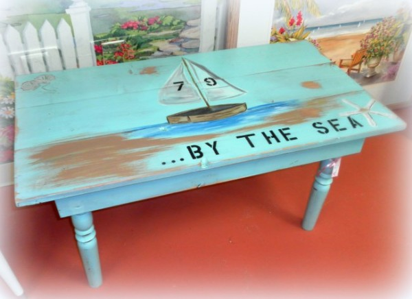hand painted beach cottage coffee table