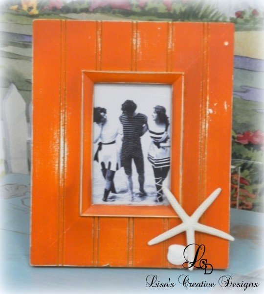 orange beachy picture frame