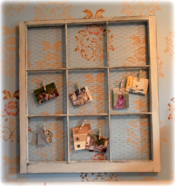 Vintage window bulletin board