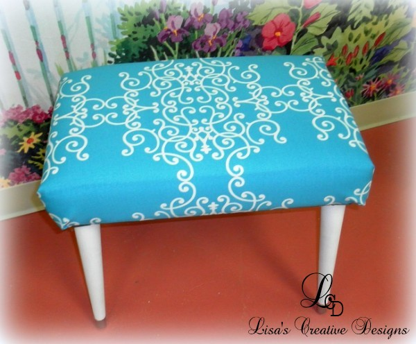 upcycled mid century modern foot stool
