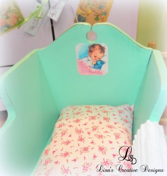 upcycled vintage doll cradle