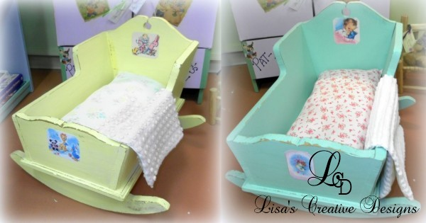 upcycled vintage doll cradles