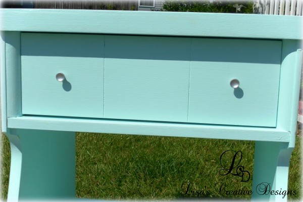 Ice Blue Mid Century Modern Night Stand Makeover