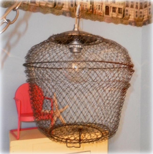 upcycled bait cage pendant lamp