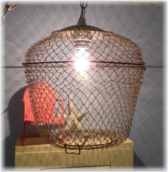 upcycled bait cage pendant light