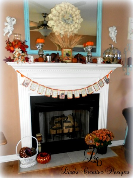 Thanksgiving mantel 2012 By Lisas Creative Designs