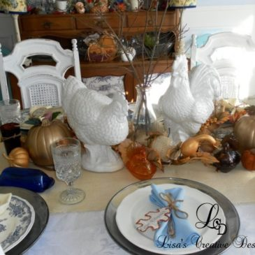 Thanksgiving Decorating…A Pretty Tablescape and Turkey Transferware