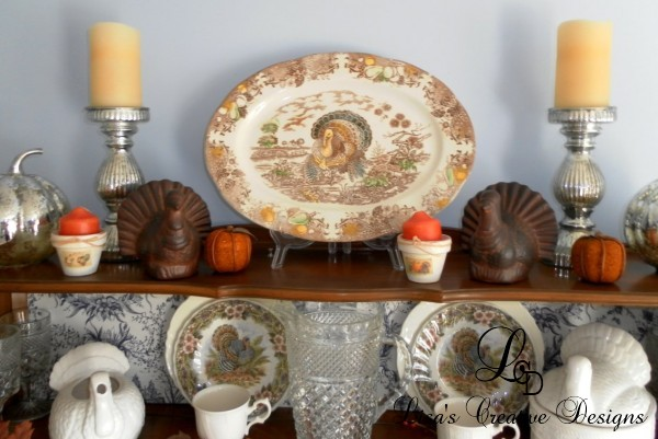 Turkey Thanksgiving Transferware Platter