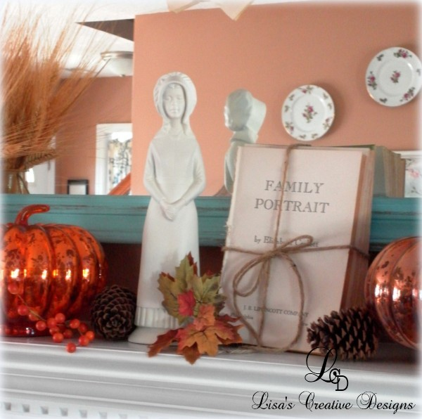 Thanksgiving Mantel with Mercury Glass Pumpkins