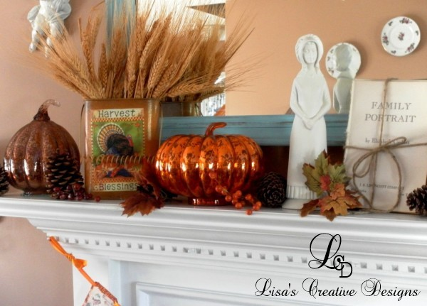 Mercury Glass Pumpkins on A Thanksgiving Mantel