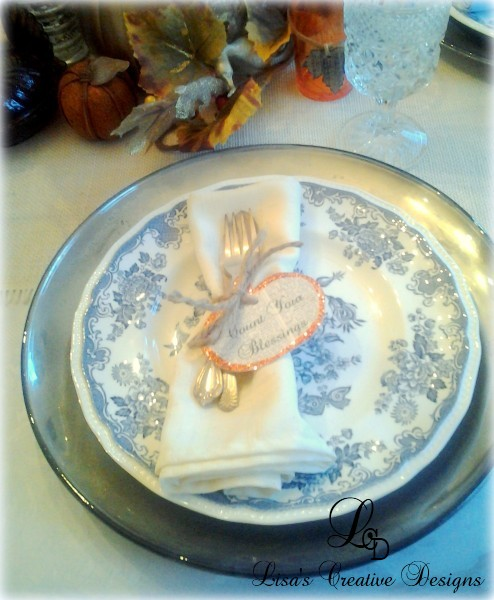 Thanksgiving Place Setting With Book Page Tag Napkin Holder