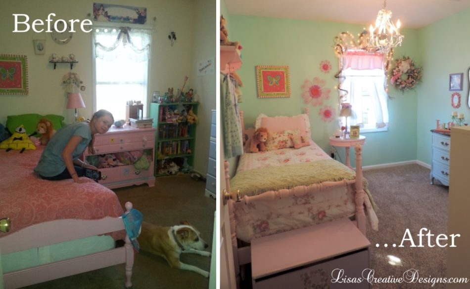 a pastel shabby chic inspired girl s bedroom makeover in pink green