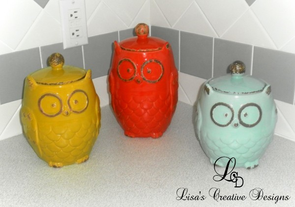 owl canisters for the kitchen simple decorating adding color to a kitchen and dining room 25389