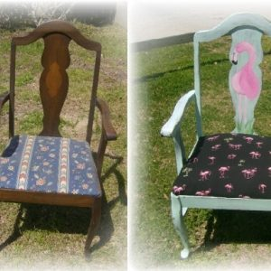 Before and After Flamingo Chair Makeover