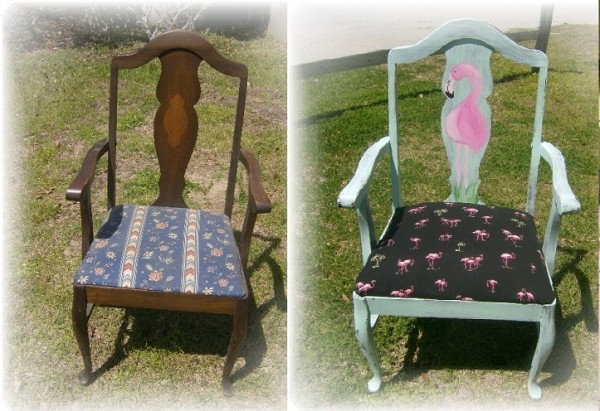 Before and After Flamingo Chair