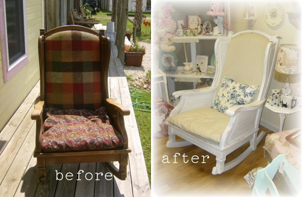 Before and After Rocking Chair Makeover by LisasCreativeDesigns.com