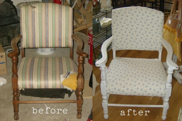 Before and After Chair Thrift Store Chair Makeover
