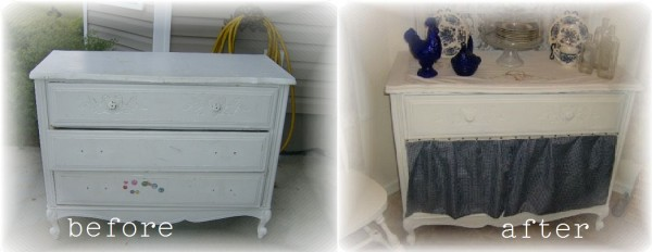 before and after repurposed dresser