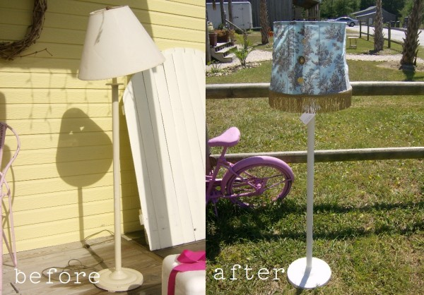 before and after thift store lamp makeover by LisasCreativeDesigns.com