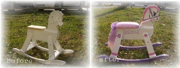 Before and After Vintage Rocking Horse Makeover
