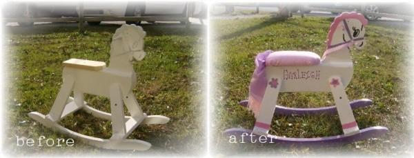 Before and After Vintage Rocking Horse Makeover