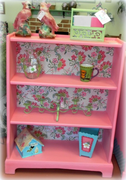 Bubble Gum Pink Upcycled Bookshelf