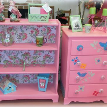 A Whimsical Bubble Gum Pink Bookshelf and Dresser