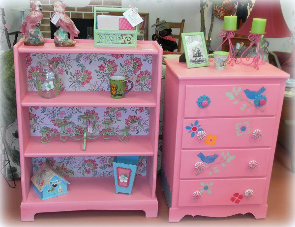 Whimsical Upcycled Bubble Gum Pink Dresser and Bookshelf