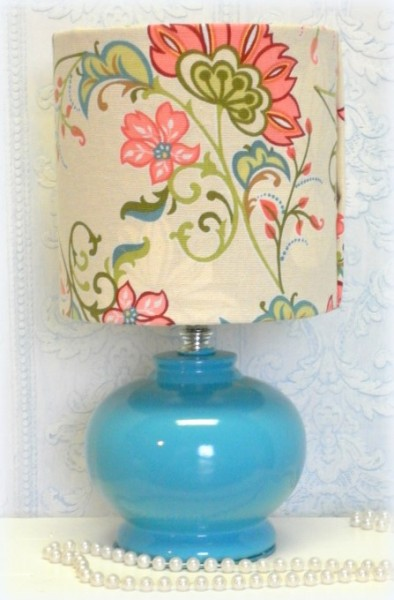 Upcycled Aqua Blue Table Lamp