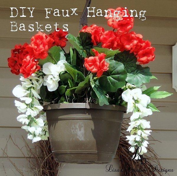Creative Spring Gardening: DIY Faux Floral Hanging Baskets