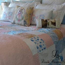 Master Bedroom Makeover Update: A Vintage Cottage Style Patchwork Coverlet