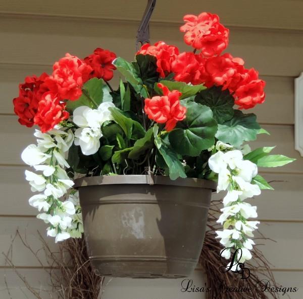 faux geranium hanging basket