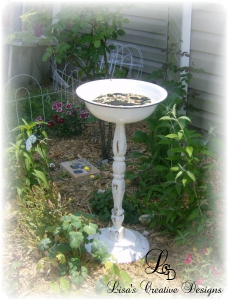 upcycled bird bath