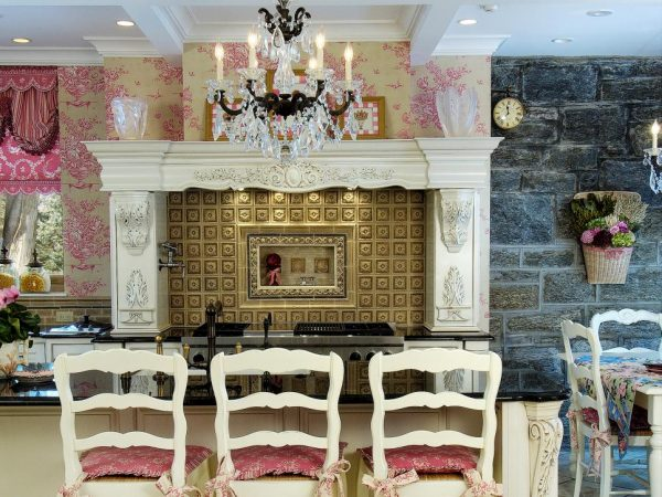 Pink French Country Kitchen