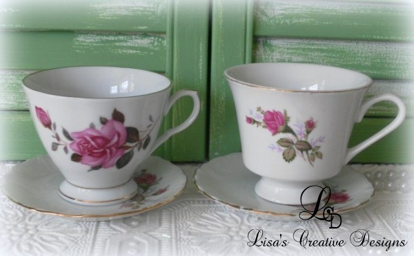 Vintage Moss Rose China Cups