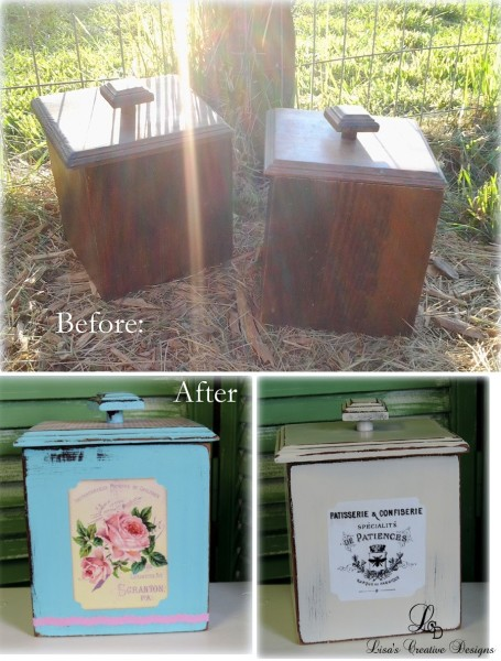 Before and After Thrift Store Canister Makeover