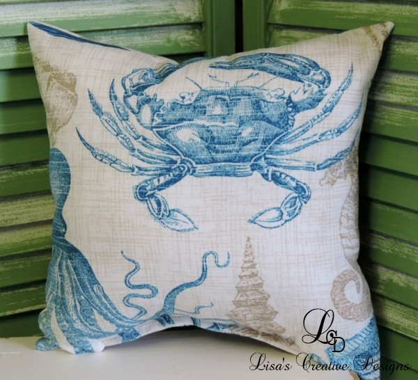 Vintage Inspired Beach Crab Pillow
