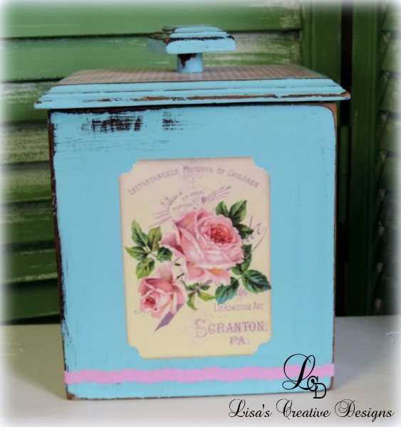 Aqua Blue Shabby Chic Kitchen Canister