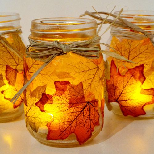 Autumn Leaf Mason Jar Luminary Fall Craft Project
