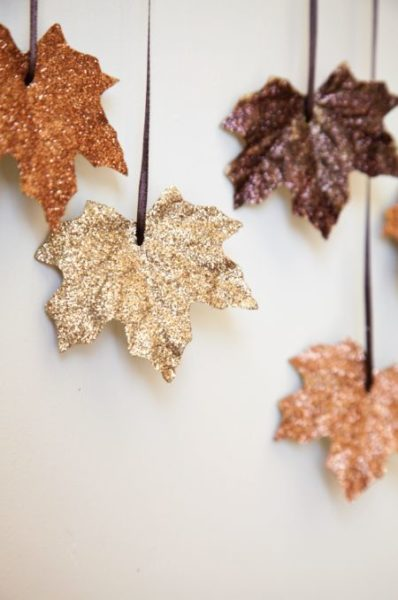 DIY Glittered Falling Leaves Garland
