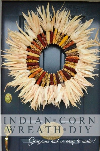 DIY Indian Corn Wreath Craft Project