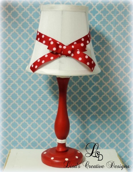 Red and White Polka Dotted Lamp and Shade