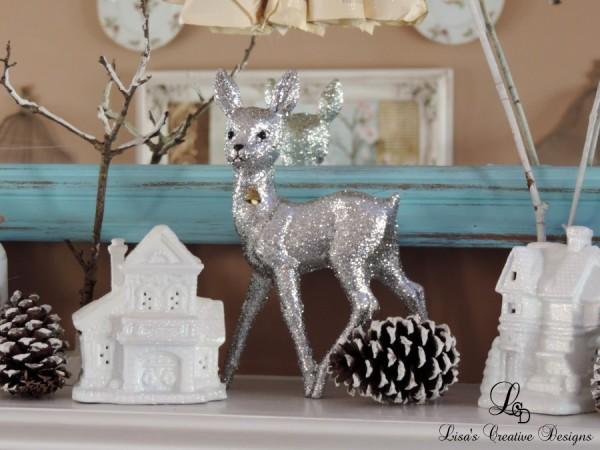 Vintage Inspired Glittered Reindeer and Glittered Houses