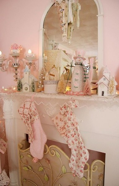 Pink Christmas Mantel