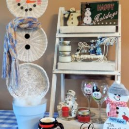 Easy Christmas Crafts: An Upcycled Basket Snowman