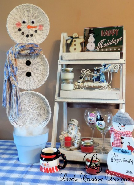 An Upcycled Basket Snowman