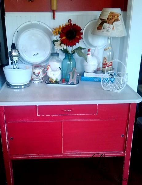 Red Vintage Hoosier Table