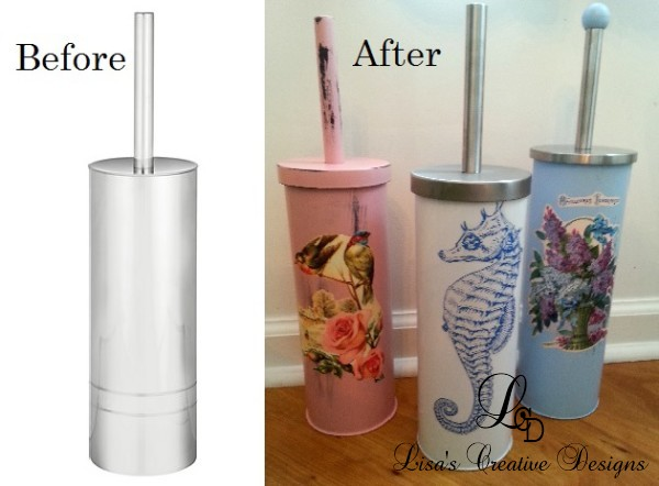 Before and After Toilet Brush Holder Makeover