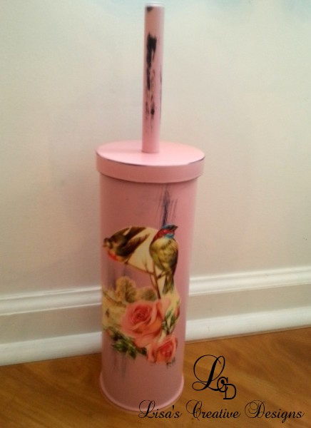 Shabby Chic Pink Rose Toilet Brush Holder