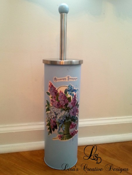 Shabby Chic Blue Toilet Brush Holder